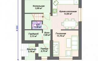 Готовый проект дома из блоков 8 на 8 м с мансардой и балконом